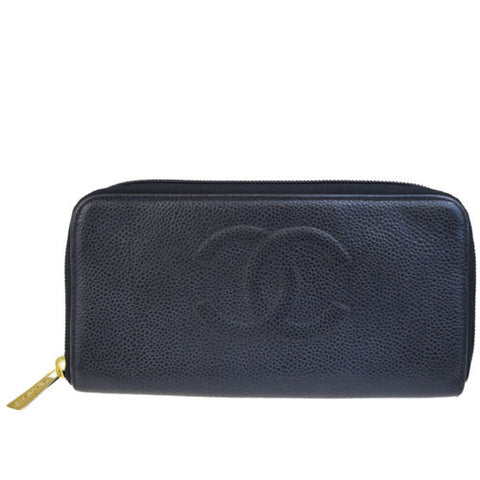 Chanel Black Caviar CC Zip Around Long Wallet