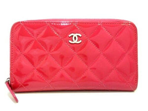 Chanel Pink Patent leather zip around long wallet medium