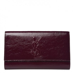 Saint Laurent Textured Patent Large Belle De Jour Clutch Purple