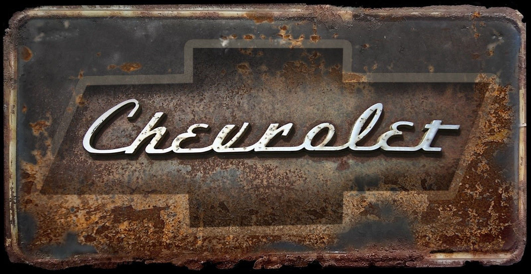 Chevrolet license plate rusty vintage style Chevy for cars, trucks