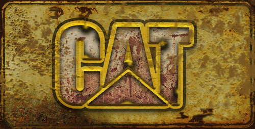 CAT equipment Caterpillar license plate rusty vintage style for cars, trucks