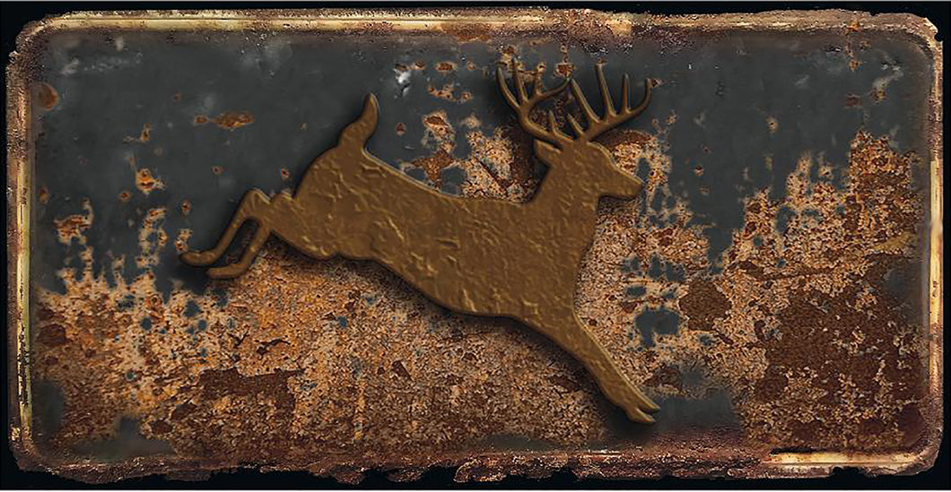 Deer rusty license plate design on aluminum tag