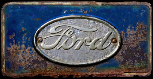 Ford rusty license plate design on aluminum tag