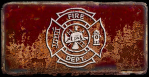 Fireman Maltese cross rusty license plate design on aluminum tag