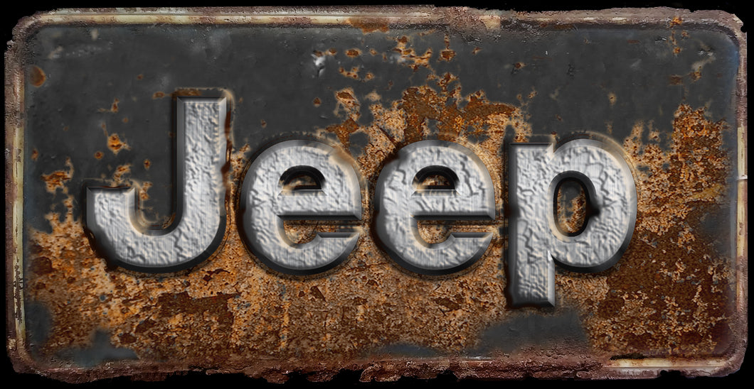 Jeep rusty license plate design on aluminum tag
