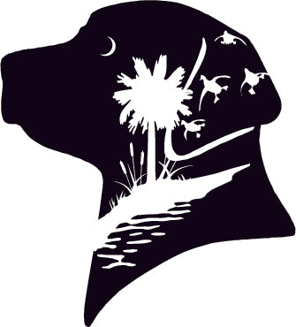 Lab head silhouette duck hunting decal Palmetto Tree