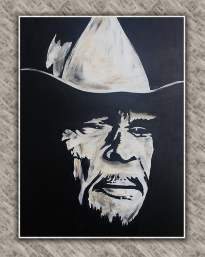 Merle Haggard, country legend, art print on canvas, unframed