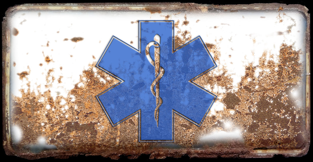 EMT First Responder Star of Life rusty license plate design on aluminum tag
