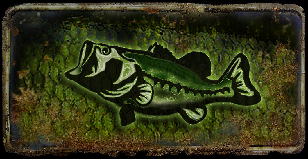 Bass fish rusty license plate design on aluminum tag