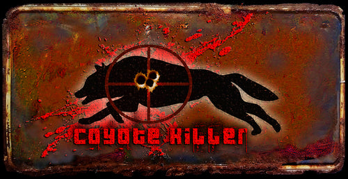 Coyote Killer rusty license plate design on aluminum tag