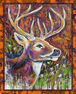 Deer hand painted art print on canvas, unframed