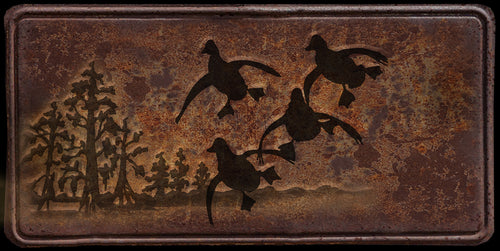 Duck hunter rusty license plate design on aluminum tag