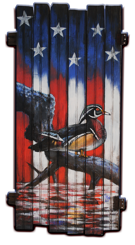 Wood Duck American Flag hand painted print art decal