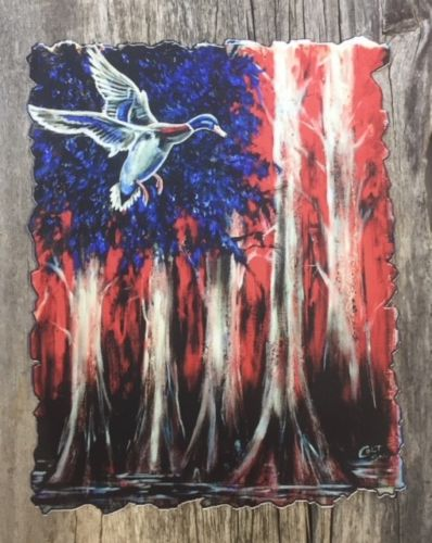 Mallard Duck American Flag hand painted print art decal
