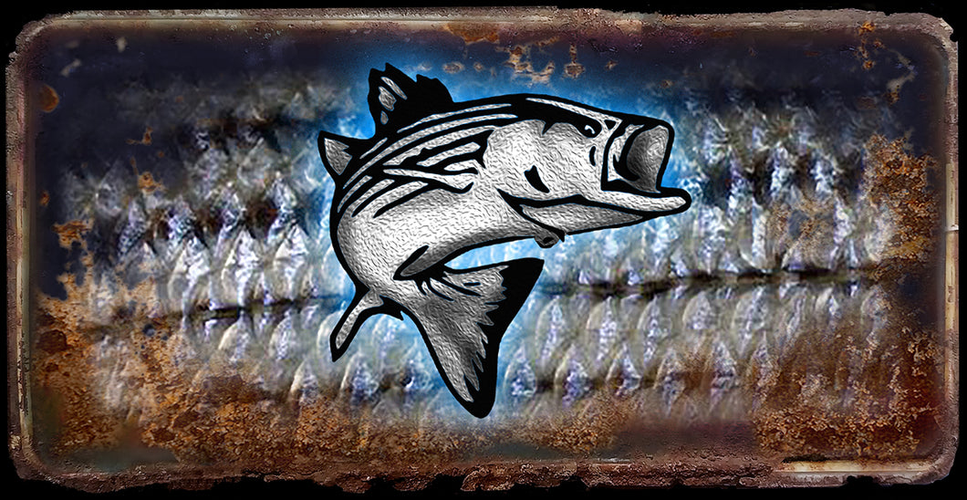 Striper fish rusty license plate design on aluminum tag
