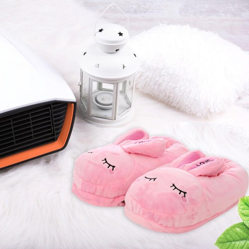 1 Pair Heating Slipper Cartoon Warm Plush Cotton Shoes Usb Charging Removable Washable Electric Foot Warmer LootDash