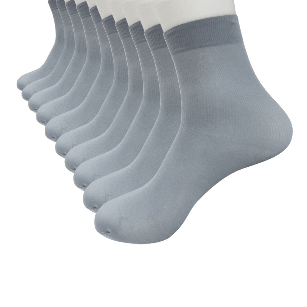 10 Pairs Bamboo Fiber Ultra thin Elastic Silky Short Silk fashion lady Socks Solid Men's Socks Thin Breathable new Ankle Socks