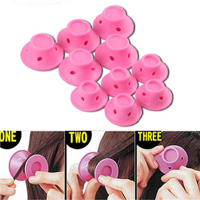 10 Pcs Silicone Hair Curly Hair No Clip Hair Care DIY Roll Hair Style Roller Curling Tool Reusable For Women Salon Home|Hair Rollers