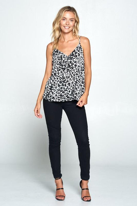 ANIMAL PRINT V-NECK TANK TOP