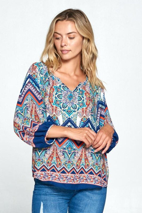 PAISLEY PRINT V-NECK 3/4 SLEEVE TOP