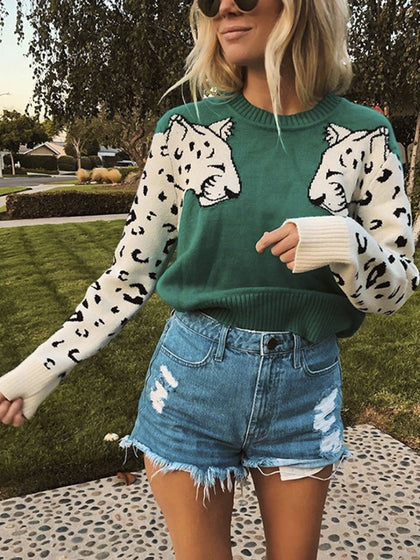 Animal print casual warm pullover women loose basic streetwear