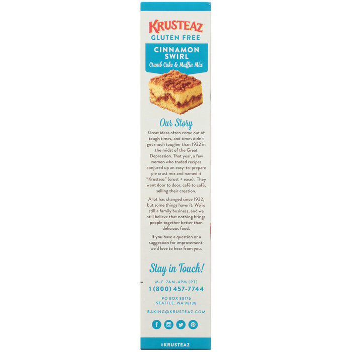 Krusteaz® Gluten Free Cinnamon Swirl Crumb Cake & Muffin Mix 20 oz. Box
