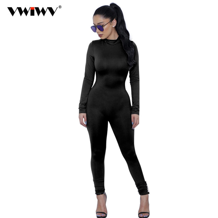 2019 New Hot Casual Women One Piece Jumpsuits Long Sleeve turtleneck Bodycon Back Zipper Long Pants Sexy Outfits Grey Rompers