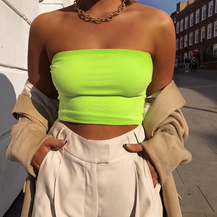 Sleeveless Womens Bralette Plain Off Shoulder Vest Crop Top Tank Tops Bras Bustier Party Solid Sexy Hot Clothes- Lootdash