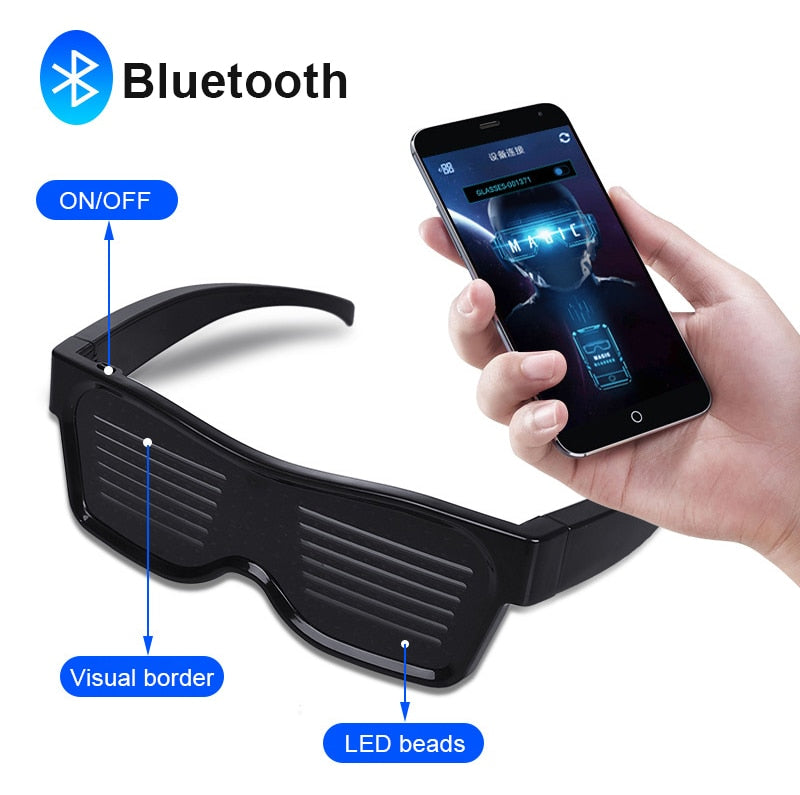 2020 App Control Bluetooth DIY Languages Flashing Led Party Glasses USB Charge