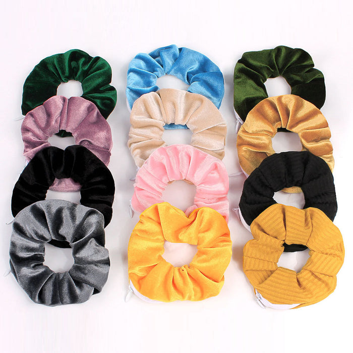 Zipper Scrunchies Women Creative Velvet Hairbands with Pocket