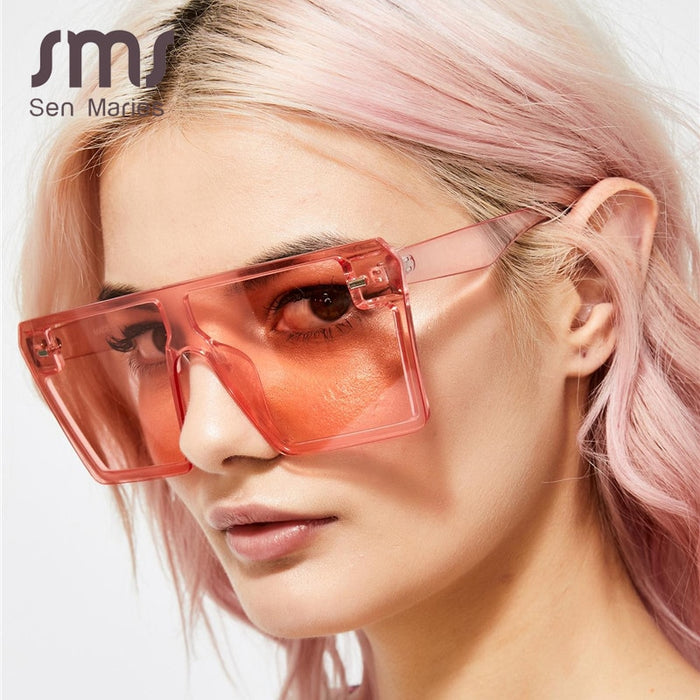 2020 Oversized Square Sunglasses Women Luxury Brand Fashion Flat Top colorful Clear Lens Sun Glasses Vintage Men Gafas Glasses on LootDash