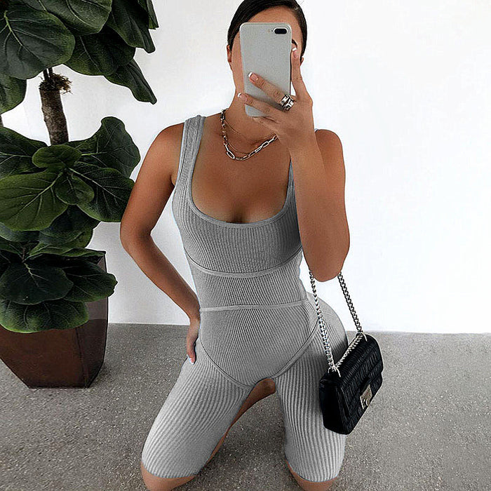2020 Women Jumpsuits Sportwear Knit Rib Bodycon Playsuit LootDash