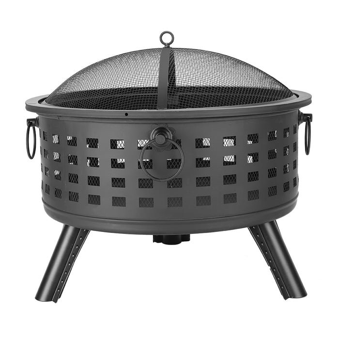 26 inch Round Lattice Fire Bowl Black Camping Hiking Round Fire Bowl Portable Wood Burning Patio Firepit