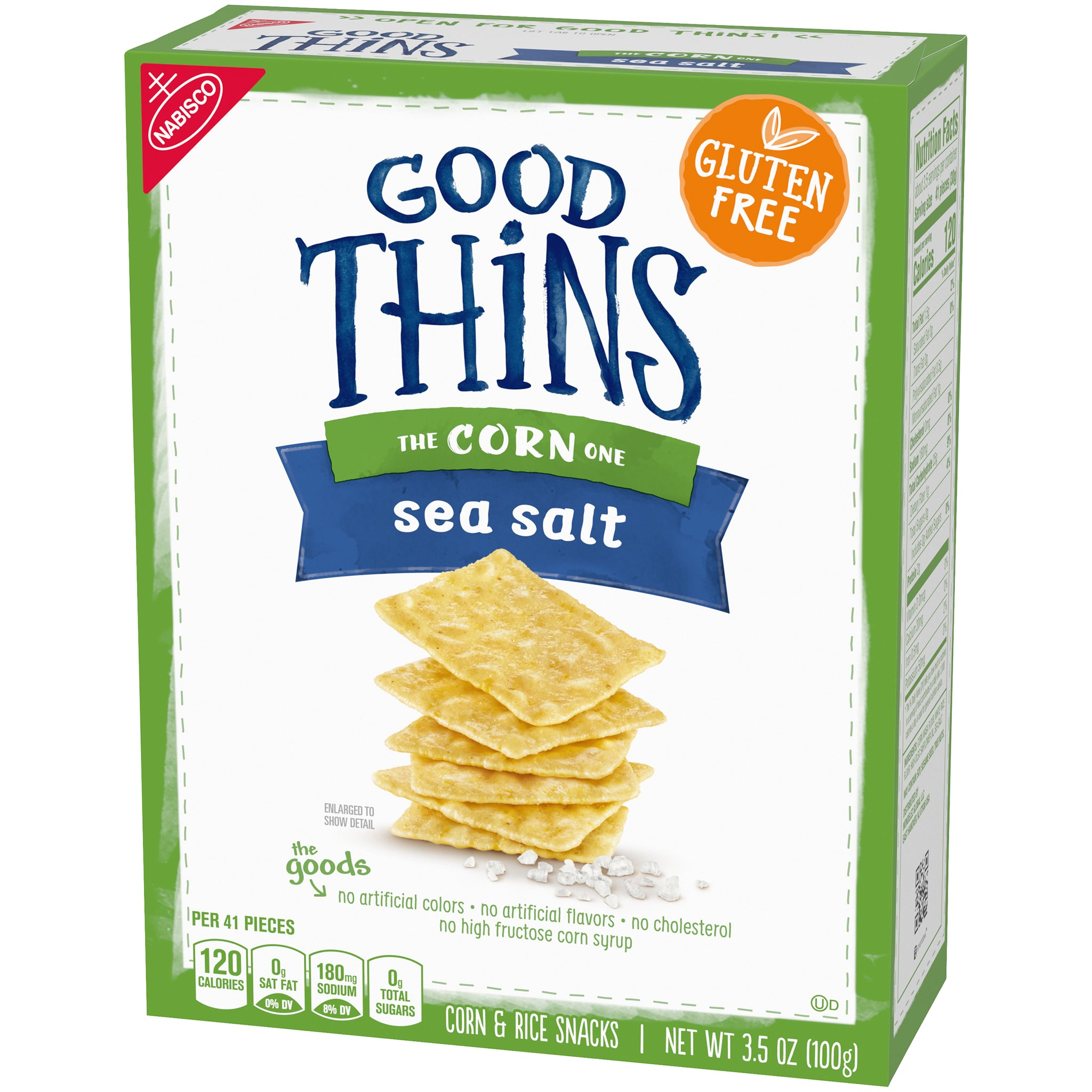 Nabisco Good Thins, Gluten Free Corn & Rice Crackers, Sea Salt, 3.5 Oz.