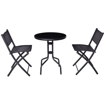 3 Pcs Outdoor Folding Bistro Table Chairs Set Minimalist Modern Patio Set LootDash
