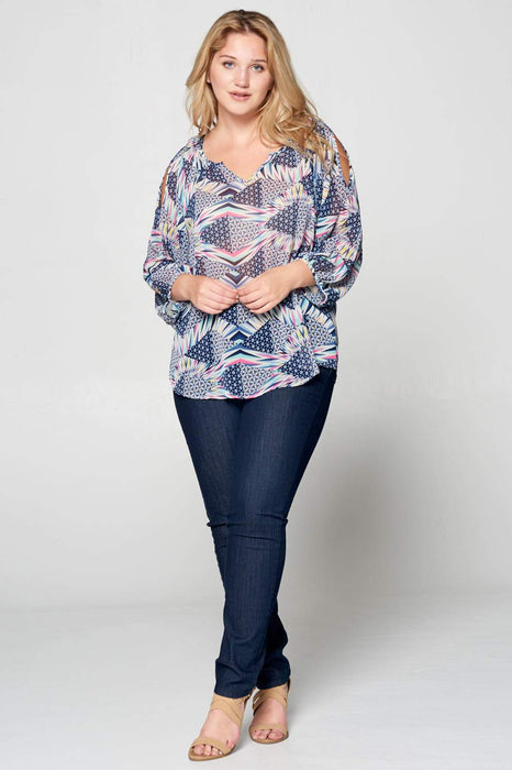 V-NECK OPEN SLEEVE PRINT TOP