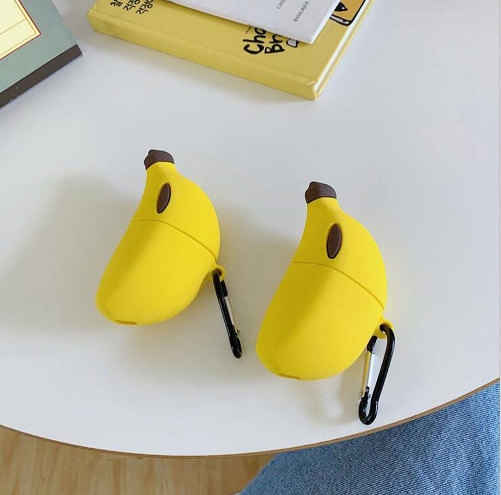 3D Case Fruit Wireless Earphone Case For AirPods Shockproof Cover Charging Headphones Case for Apple Airpods Cute Banana Design|Earphone Accessories