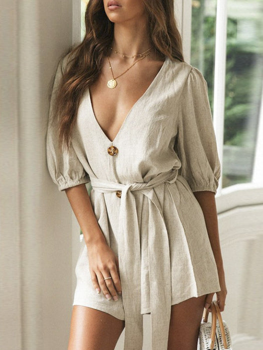 Solid Color Rompers Deep V Casual Beach Holiday