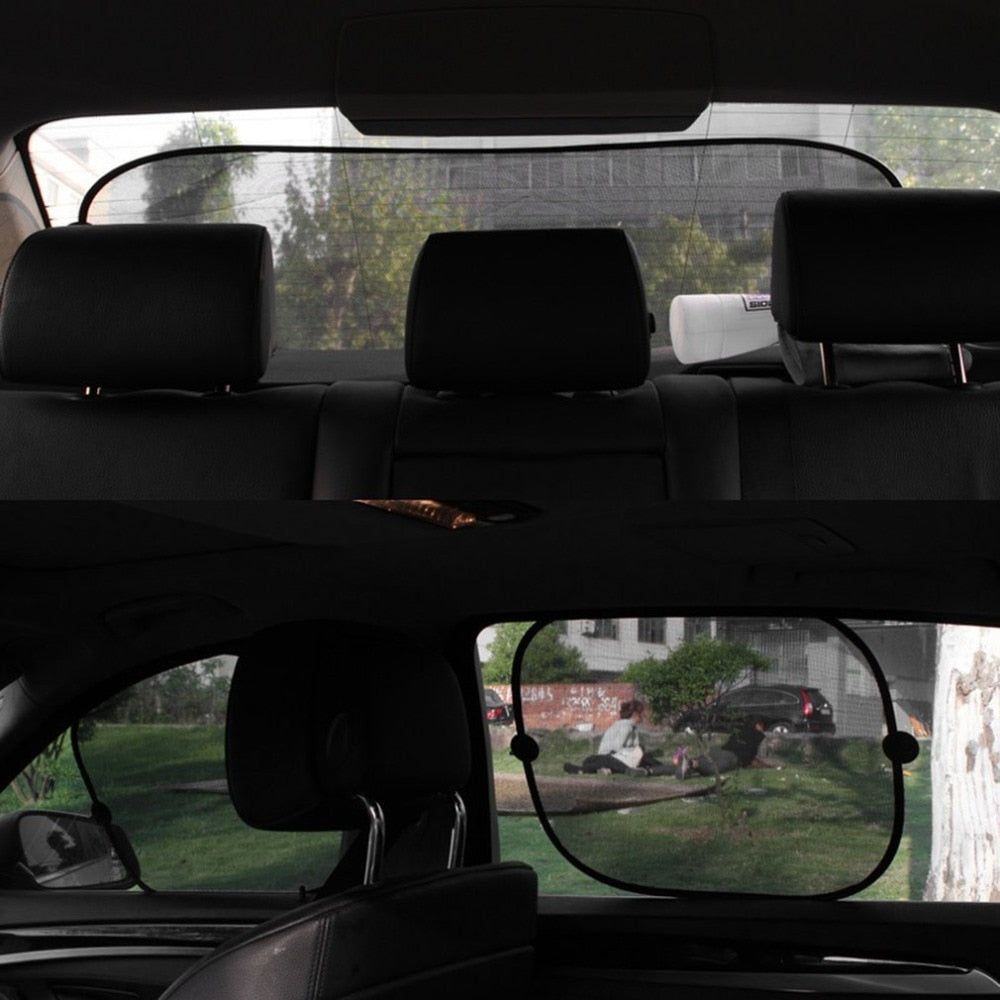 5pcs Car Window Sunshade Mesh Auto Sun Visor Curtain With Suction Cup Front Rear Side Sunshade