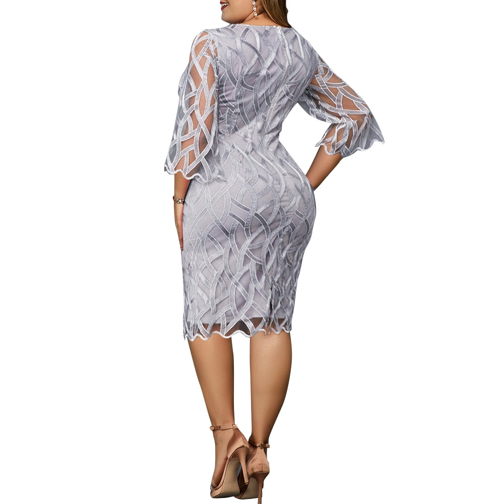 Plus Size Women's Mesh Seven Sleeve Party Knee Length Dress Fall Vintage Inspired