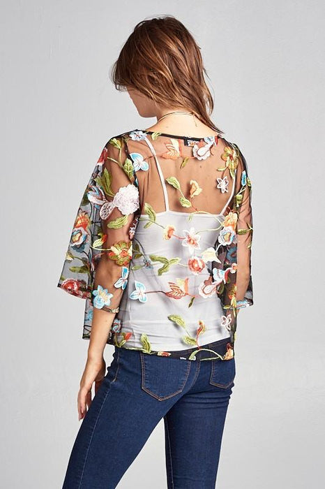 ALL OVER EMBROIDERED SHEER TOP