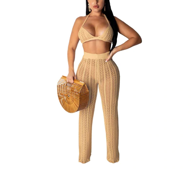 Fishnet Knitted Two Piece Summer Set
