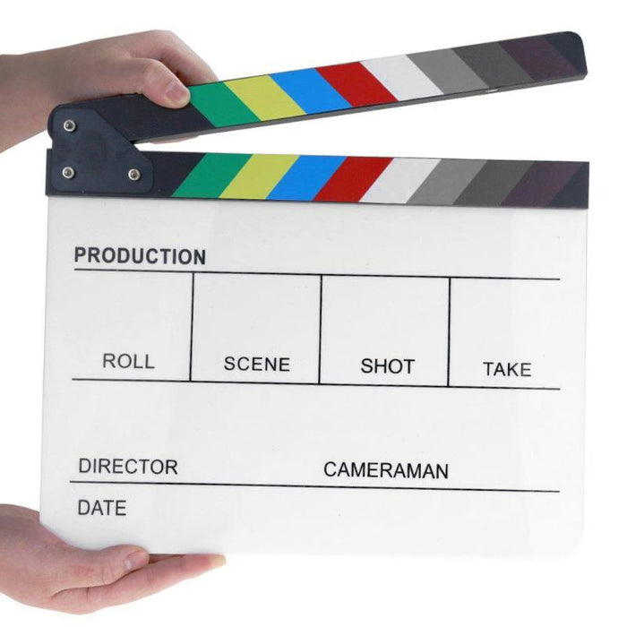 Acrylic Colorful Clapperboard Clapper Board Dry Erase Director Cut TV Movie Film Action Slate Clap Handmade Cut Prop on LootDash