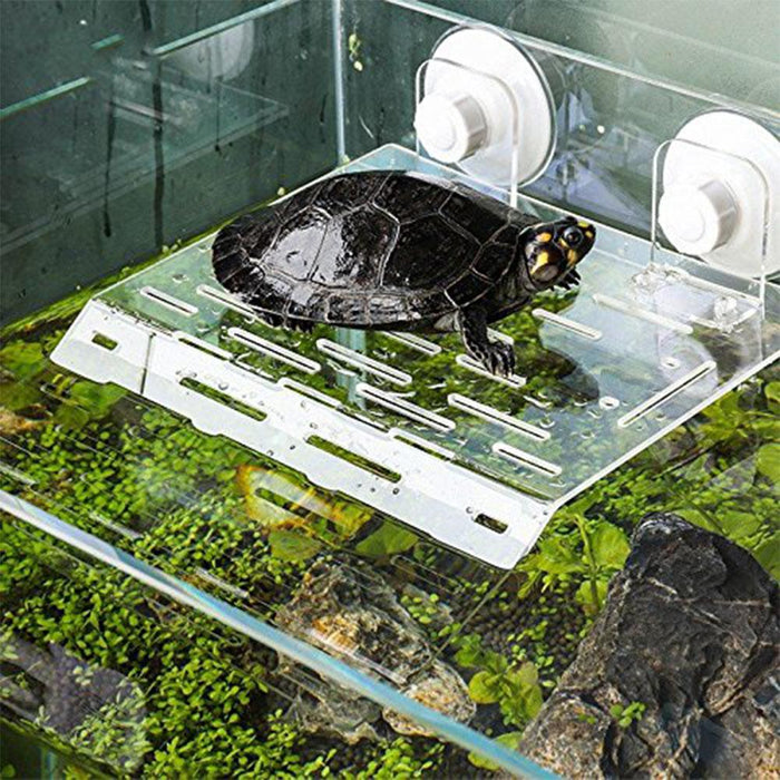 Adeeing Acrylic Reptiles Drying Platform Floating Island with Sucking Disk Aquarium Terrarium Decoration|Habitat Decor|Home & Garden