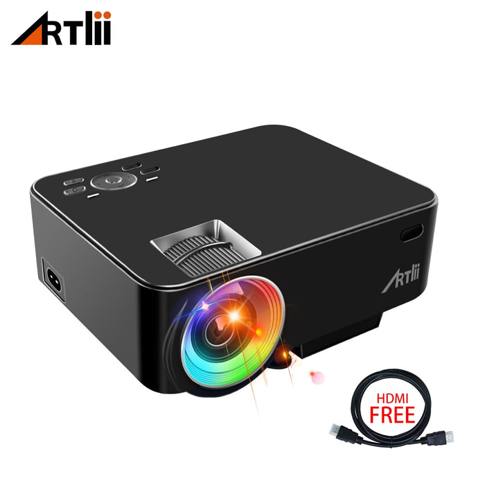 Artlii Movie Portable Projector Home Theater Video Mini Projector Support 1080P LCD To Watch Sports Matches or Movie For Family