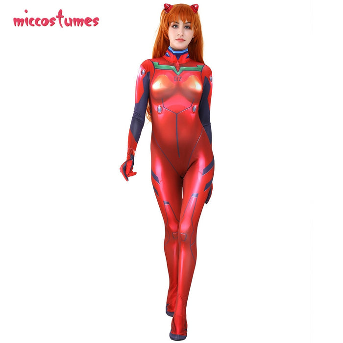 Asuka Langley Sohryu Cosplay Red Bodysuit Jumpsuit 3D Printed Plugsuit Cosplay Costume