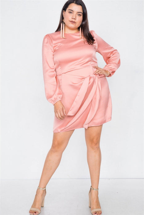 Silk Mock Wrap Square Neck Mini Dress