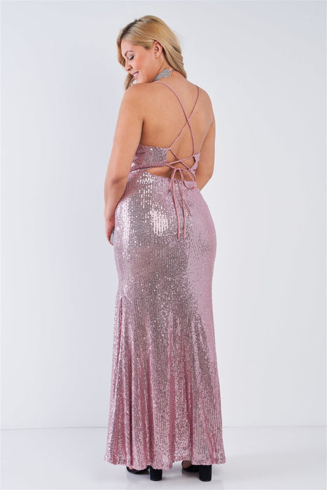Mauve Sequin V-neck Criss Cross Open Back Side Slit Maxi