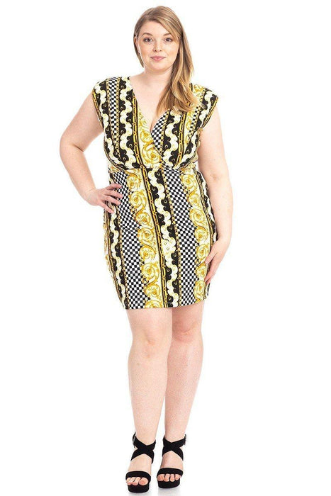 Plus Size Boarder Print  V-neck Bodycon Dress