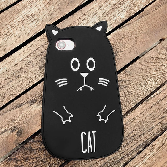 Cartoon Cat Cell Phone Protective Case Cute Silicone Protection Drop Resistant Mobile Phone Cover For iPhone Series on LootDash
